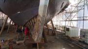 Les barques historiques du Léman en travaux
