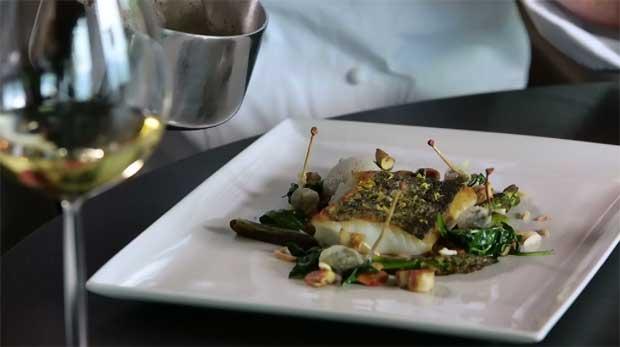 Panier de chef - Pierre Marin - Bourdeau - Cabillaud, petits légumes, émulsion champignons de Paris